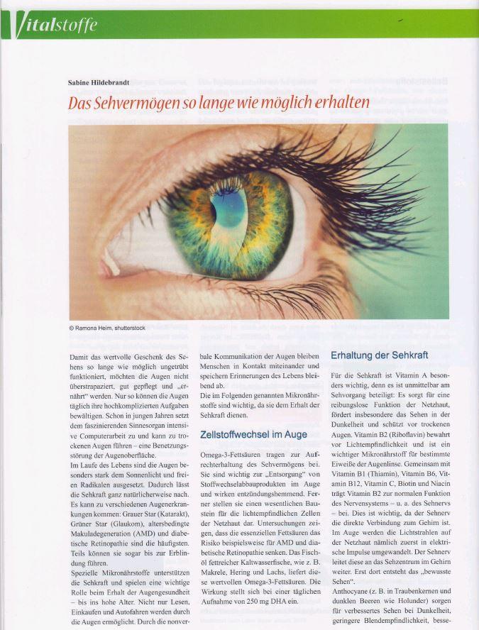 Exklusivbeitrag im Magazin Vitalstoffe zum Thema Augengesundheit.