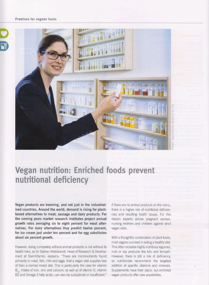 Beitrag im Magazin Wellness Foods and Supplements zum Thema vegane Ernaehrung.