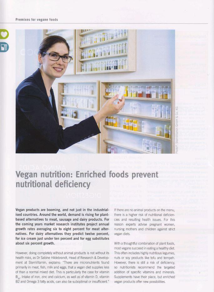 Beitrag im Magazin Wellness Foods and Supplements zum Thema vegane Ernaehrung.