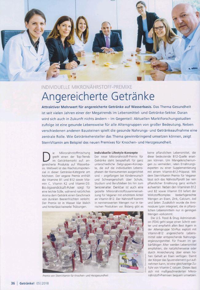 Beitrag im Magazin Getraenke Technologie und Marketing zum Thema angereicherte Getraenke.
