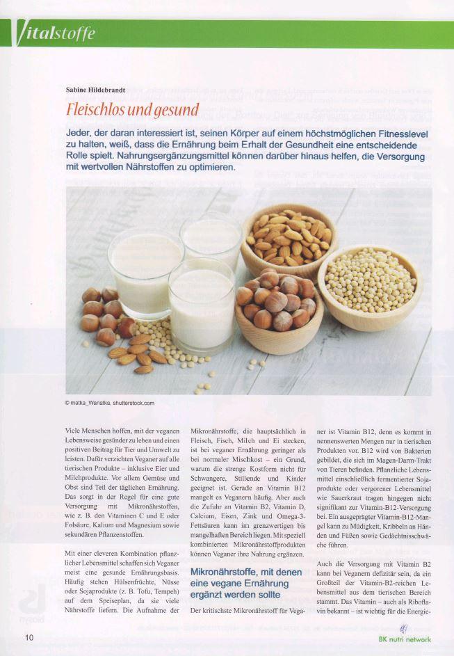 Exklusivbeitrag im Magazin Vitalstoffe zum Thema fleischlos und gesund.