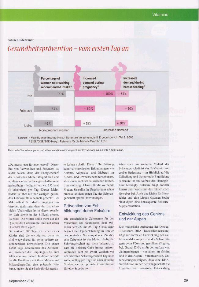 Exklusivbeitrag im Magazin Vitalstoffe zum Thema gesund in der Schwangerschaft.