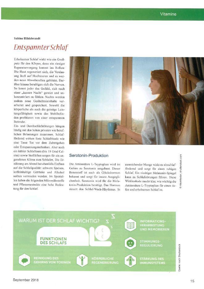 Exklusivbeitrag im Magazin Vitalstoffe zum Thema gesunder Schlaf.